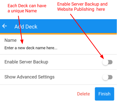 Add Decks to Wimsy - Enable server back-up and website publishing.